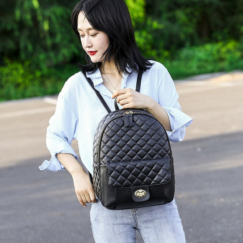 Black PU Leather Backpack for Womens