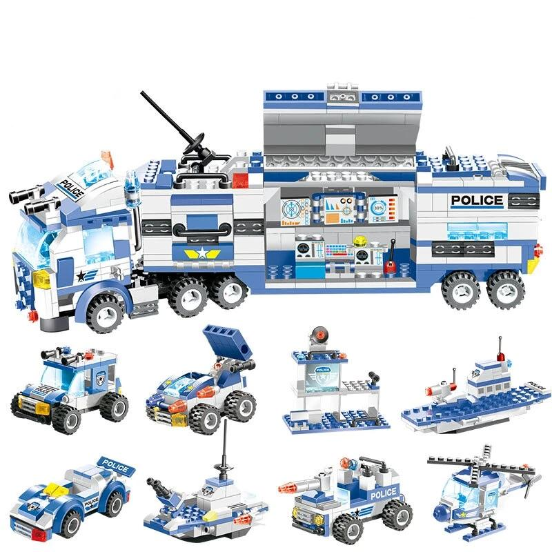 8 IN 1 City Police Truck Station Building Block Series SWAT Toy Gift For Kids