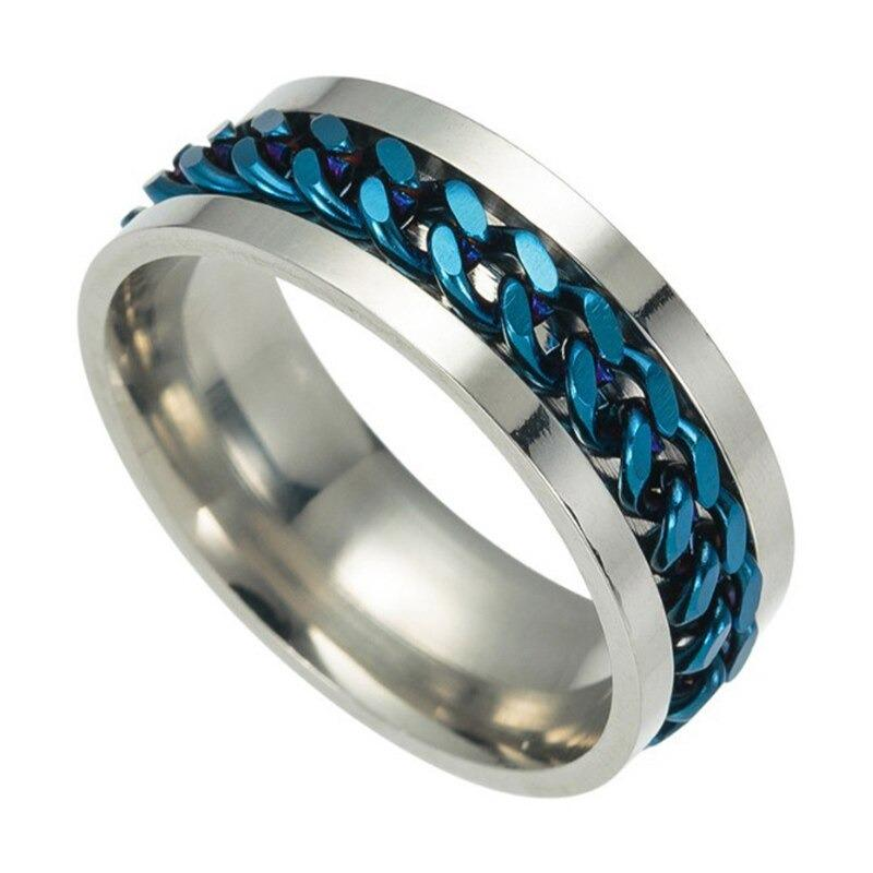 Black Tungsten Comfort Fit Wedding Band with Brush Center Bright Bevels and Deep Blue inside color - 8mm