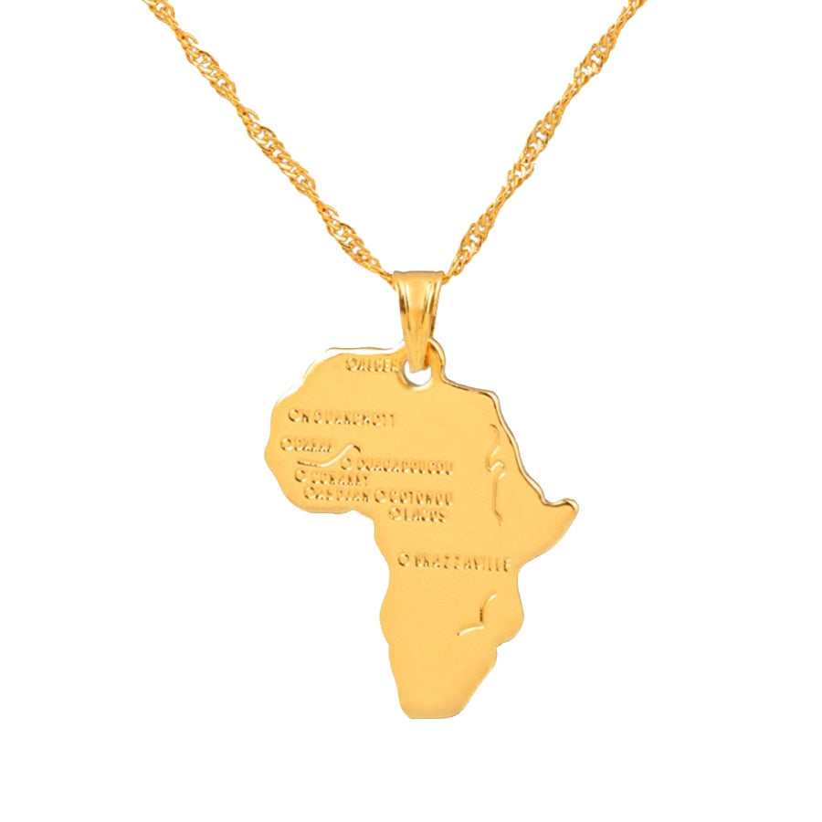 Gold Africa Necklace l African Jewelry