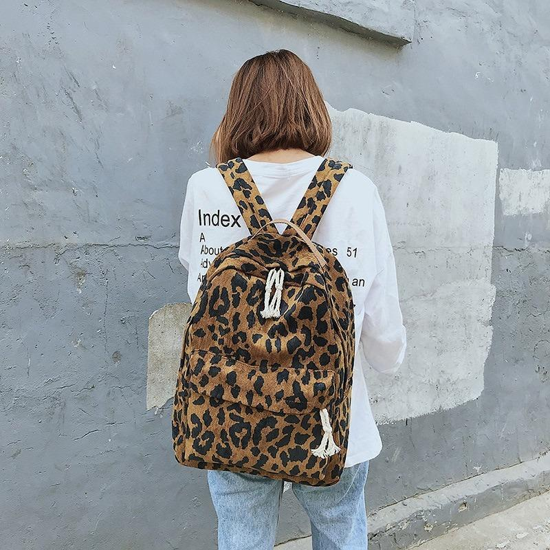 Vintage Large Faux Leather Travel Backpack, Brown leopard