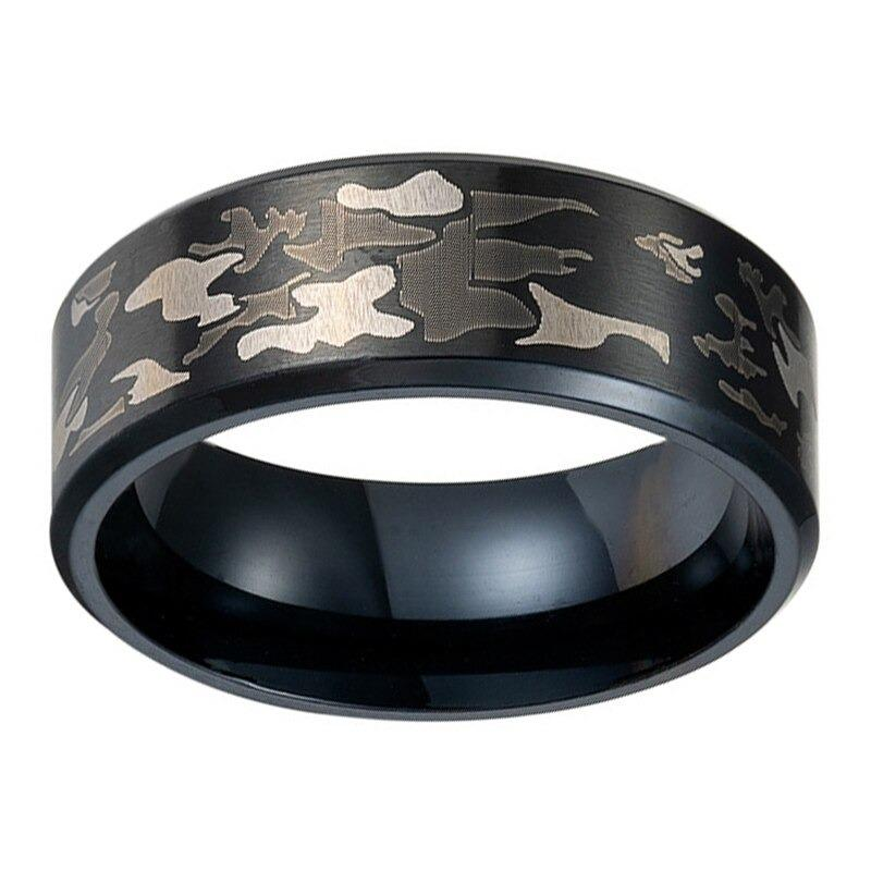 Realistic Tree Camo Tungsten Carbide Wedding Band with Green Leaves