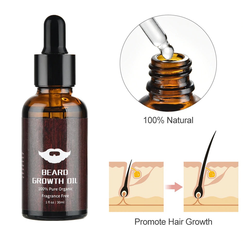 Beard Growth Kit | Oil Enhancer Nourishing Balm Hair Conditioner set with Comb Roller Facial Care Men