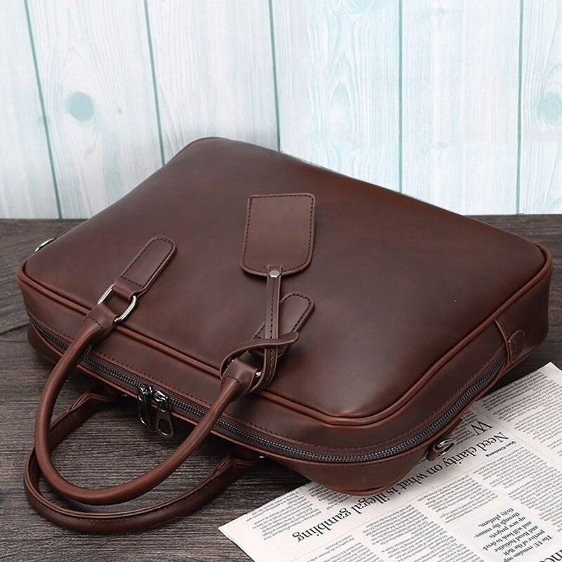 "Distressed Leather 17"" Computer Bag Vintage Style Laptop Messenger Briefcase"
