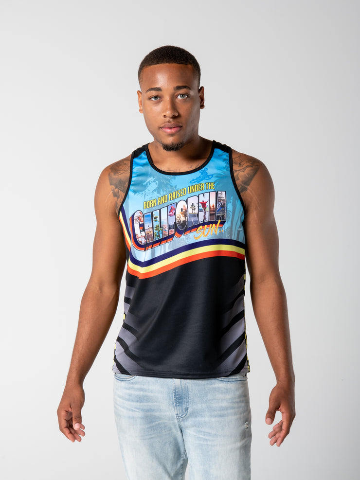 Born and Raised Under the California Sun Tank Top - Blue