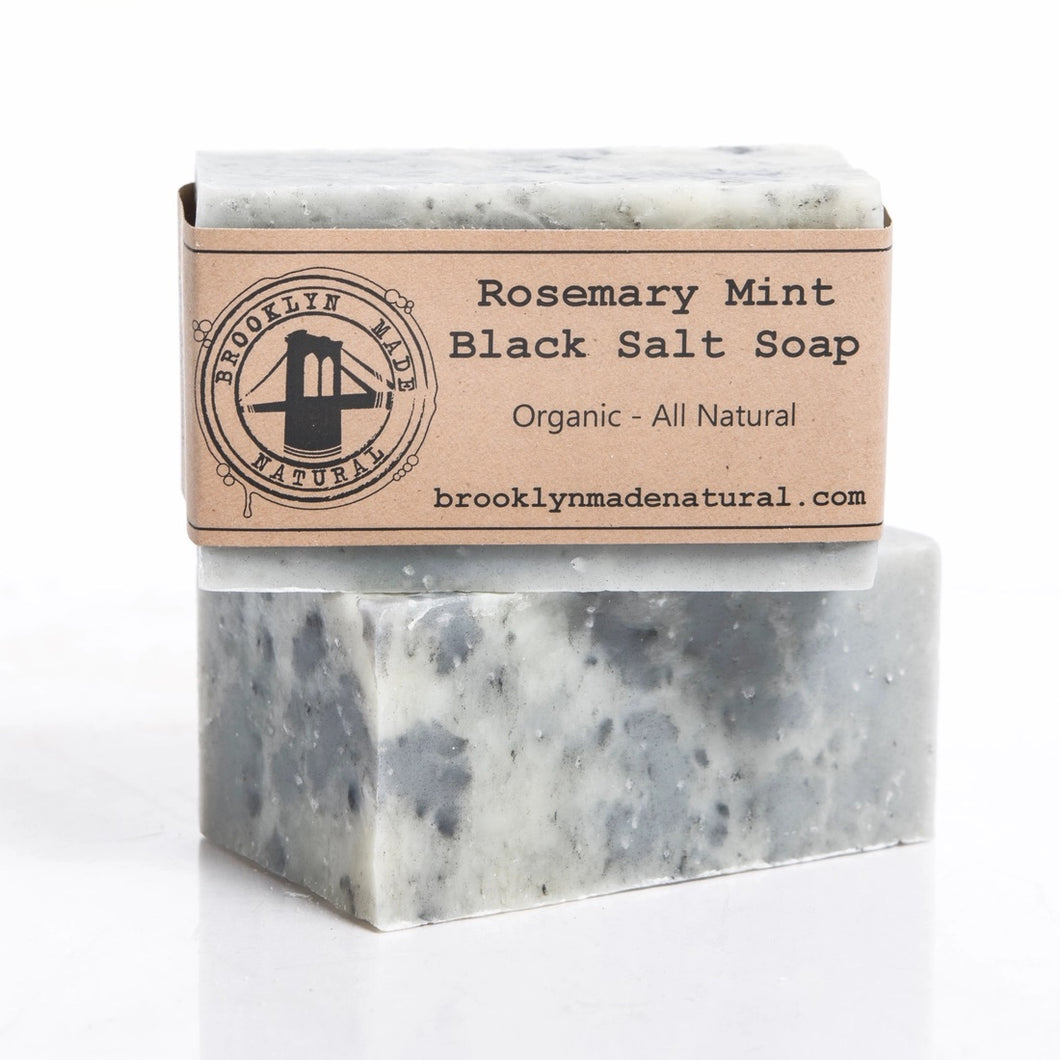Rosemary Mint Black Hawaiian Salt Soap Bar (Organic)