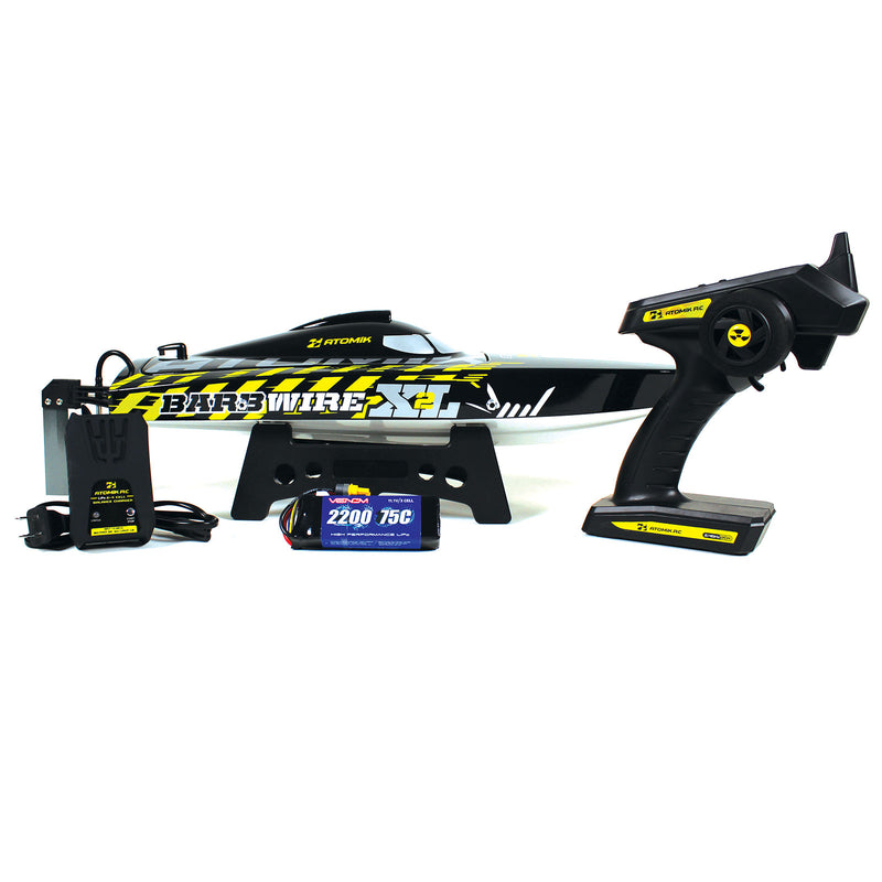 "Atomik Barbwire XL 2 RTR Brushless 24"" RC Racing Boat, Self Righting Vee Hull"