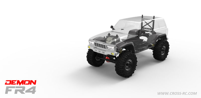 Cross RC FR4C 1/10 Demon 4x4 Crawler Kit, w/ Lexan SUV Body, Full Metal & CNC Rims