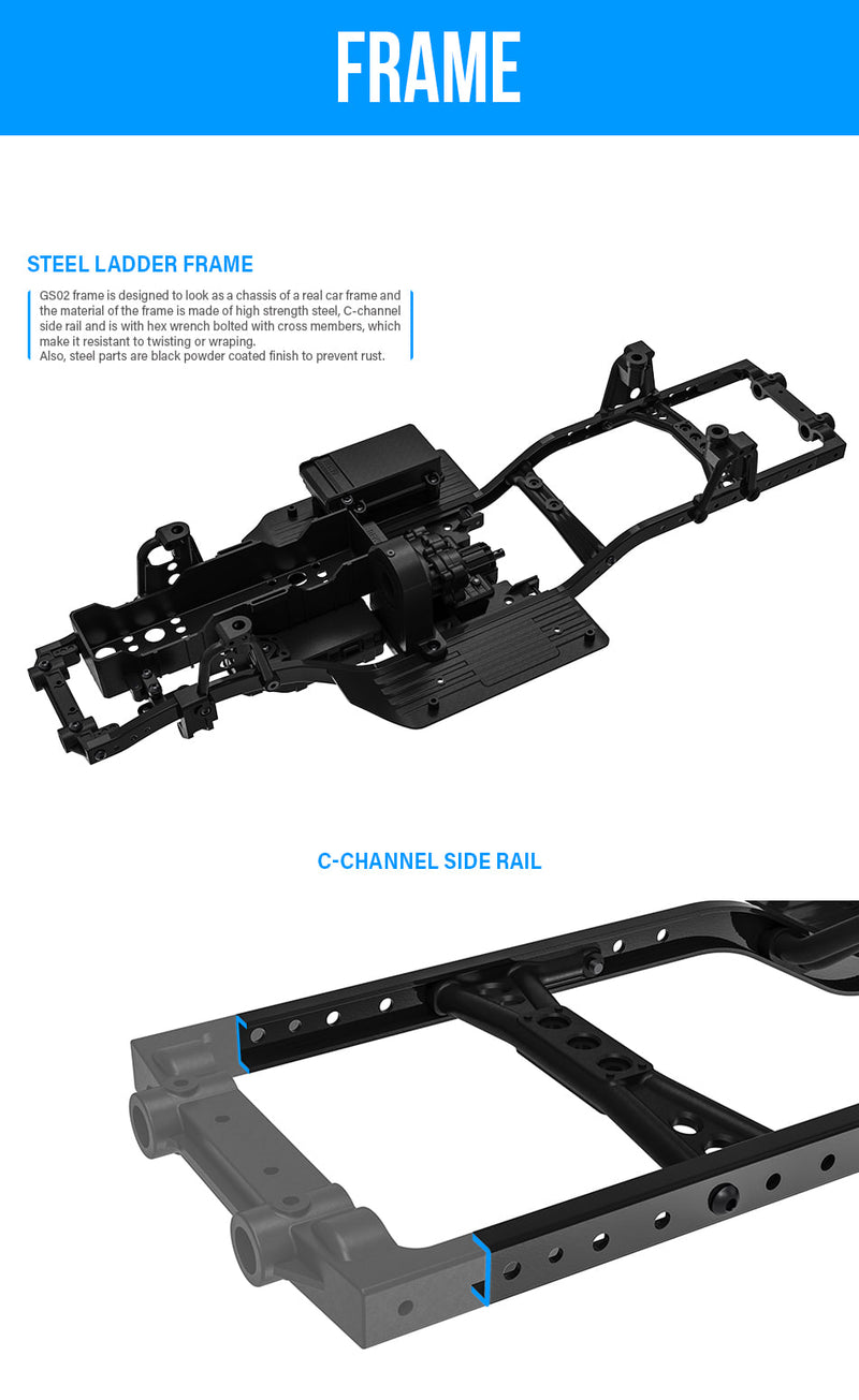 GMade 1/10 GS02 TS Chassis Kit, Ready to Assemble