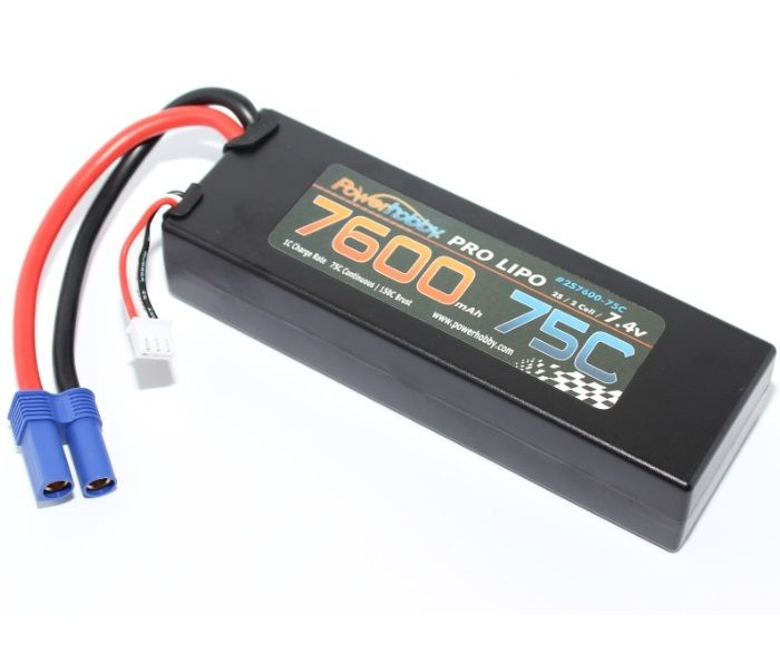 Power Hobby 7600mAh 7.4V 2S 75C LiPo Battery with Hardwired EC5 Connector
