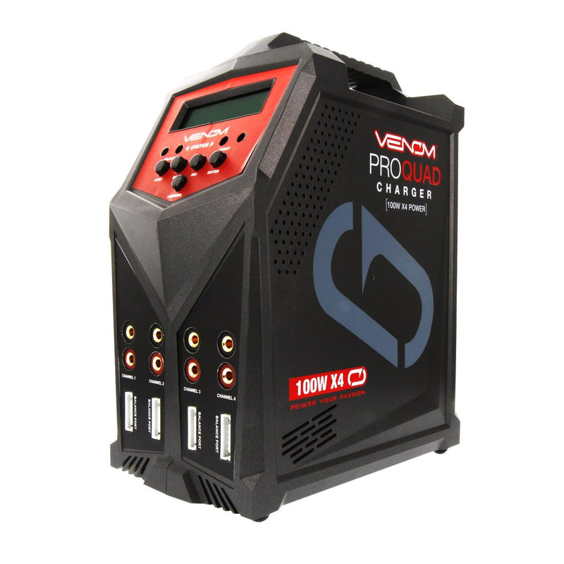 Venom Racing Pro Quad 100W 4-Port AC/DC 7A LiPo, LiHV & NiMH RC Battery Balance Charger