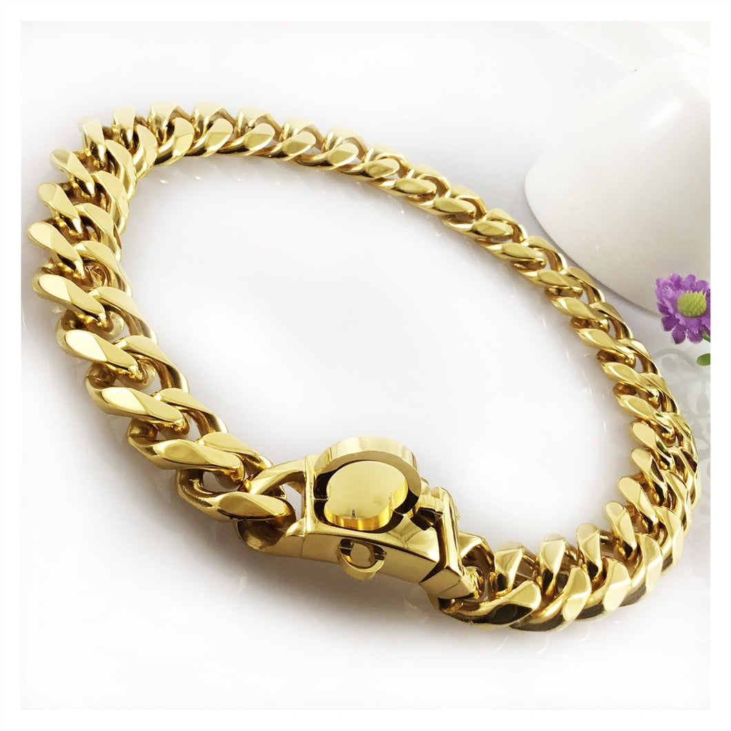 Hemmms Dogs Plated Gold Collar Stainless Steel Cuban Curb Link Chain Necklace 10