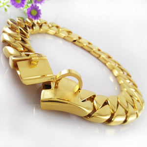Hemmms Ultra Strong 32MM Gold Plated Slip Chain Dog Collar - for Pit Bull Mastiff Bulldog Big Breeds