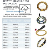 Hemmms Dog Collar Large Heavy Duty Stainless Steel Gold Big Dog Training Designer Collar Necklace Chain Perfect for Strongdog 12''-30''