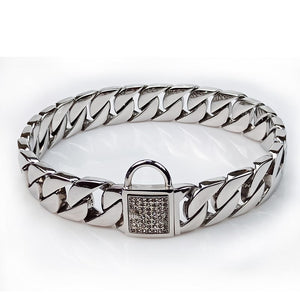 Hemmms Silver tone Dog Collar, 32 mm Metal Slip Chain - Cool + Best for Large Dogs: Pitbull, Doberman, Bulldog, Rottweiler and More