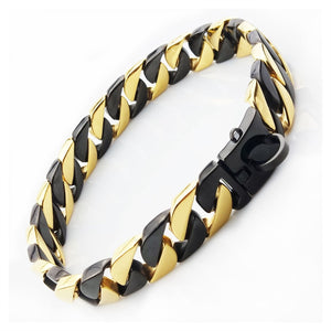 Hemmms Ultra Strong 31MM  Gold Plated Slip Chain Dog Collar - for Pit Bull Mastiff Bulldog Big Breeds ,Black+gold