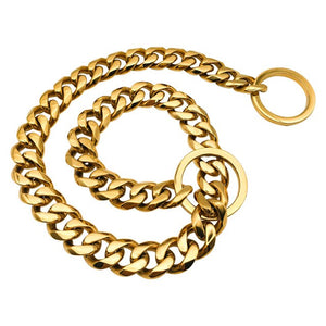 Hemmms Custom stainless steel welded 18k gold plated dog chains metal dog collar snap hook pet dog leash slave training collar