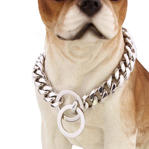 Hemmms Hot sale oem custom logo silver choke metal collar pets product six surface diamond-cut stainless steel Dog Collar