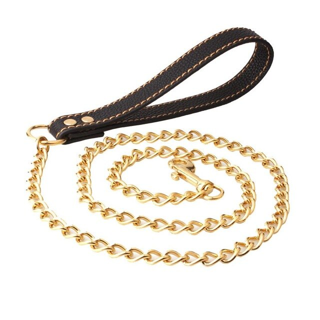 Hemmms Gold Color Stainless Steel Dog Leashes Rope Training Metal Pet Leash Dogs Chain Pet Accessories Product Pug Pitbull Hot
