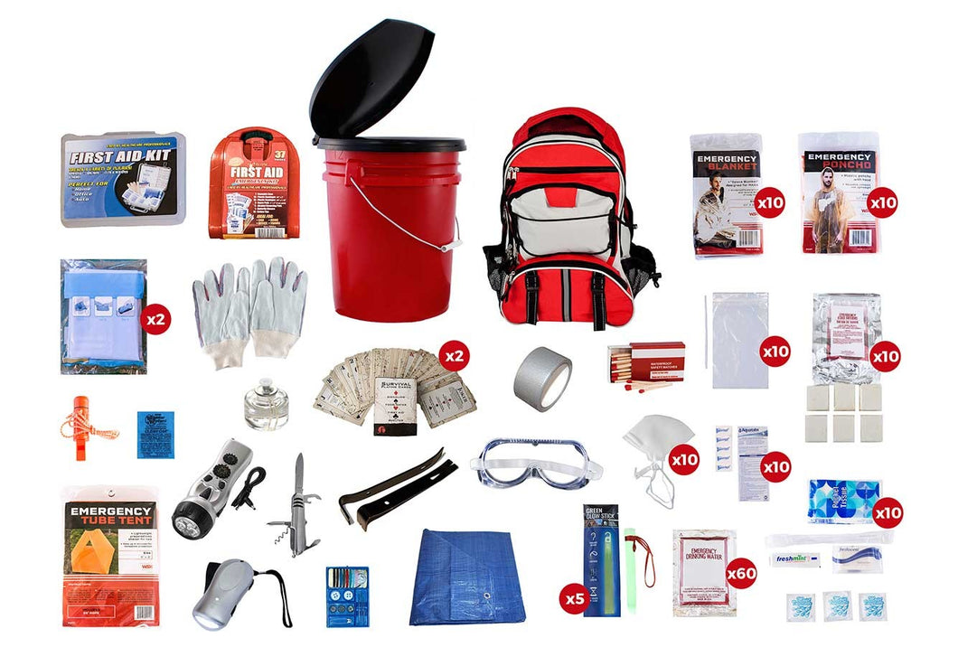 10 Person Classroom Emergency Bucket Kit