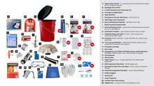 Load image into Gallery viewer, 5 person emergency office survival kit bucket checklist