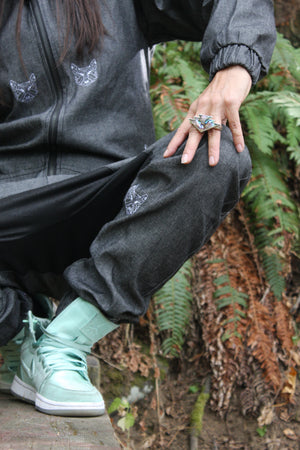 Dire Wolf Embroidered Denim Onesie