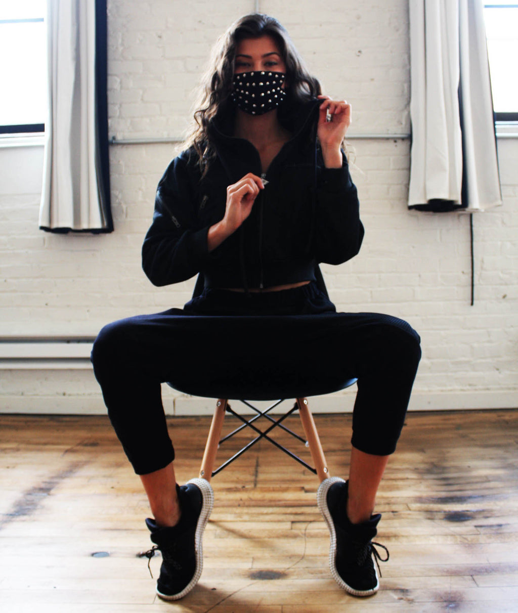 Arrow Head Mesh Crop Hoodie