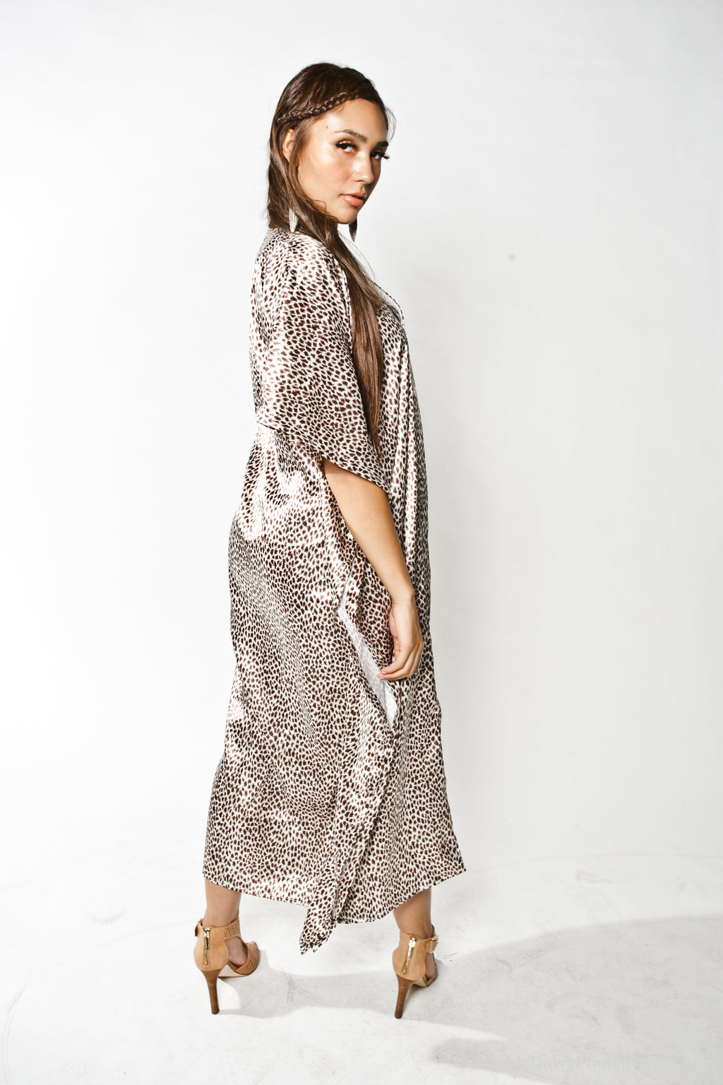 Spotted Print Silk Maxi Dress