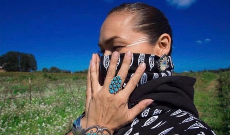 NEO's Hand Painted Eagle Feather Hooded Face Mask