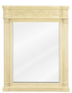 Antique Ornate Mirror  33-11/16 x 42  Buttercream