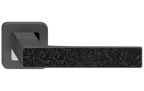 Deco Glamour  Graphite + Black Crystals  European Door Handle