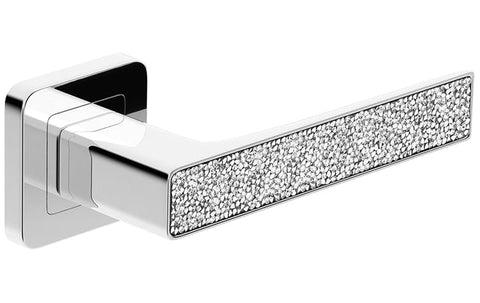 Deco Glamour  Chrome + Silver Crystals  European Door Handle