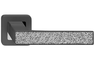 Deco Glamour  Graphite + Silver Crystals  European Door Handle