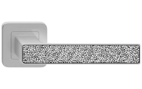 Deco Glamour  Nickel Satin + Silver Crystals  European Door Handle