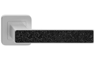 Deco Glamour  Nickel Satin + Black Crystals  European Door Handle