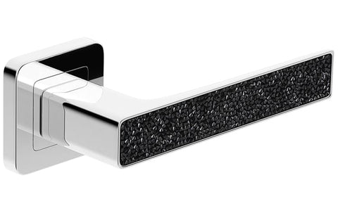 Deco Glamour  Chrome + Black Crystals  European Door Handle