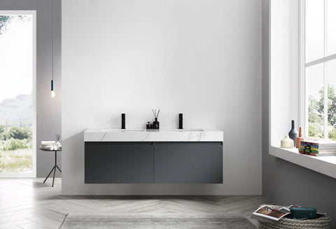 "MANAROLA   60""  DARK GRAY WITH THICK QUARTZ WALL MOUNT MODERN BATHROOM VANITY"
