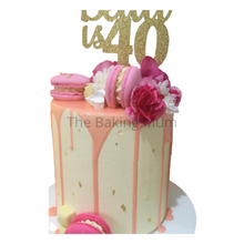 Load image into Gallery viewer, Drip Cake with flowers and macarons