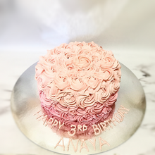 Load image into Gallery viewer, Pink Ombre Rosette Cake