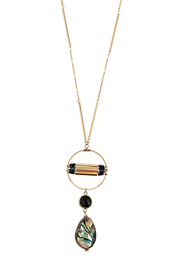 Ring Link Semi Precious Stone Pendant Necklace - Gold/Black