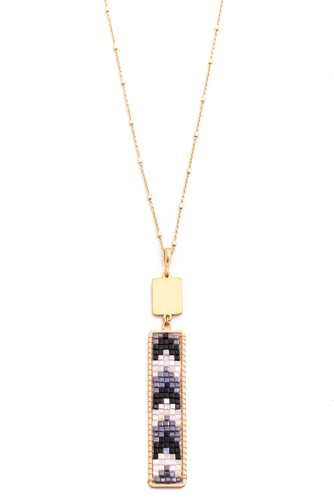 Mini Cube Beaded Bar Charm Necklace