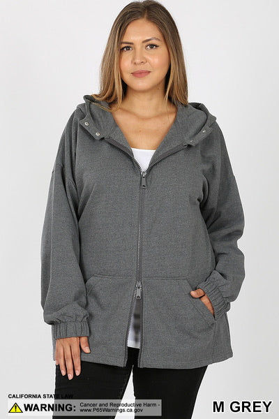 2-Way Zipper Hoodie Sweatshirt Jacket - Black