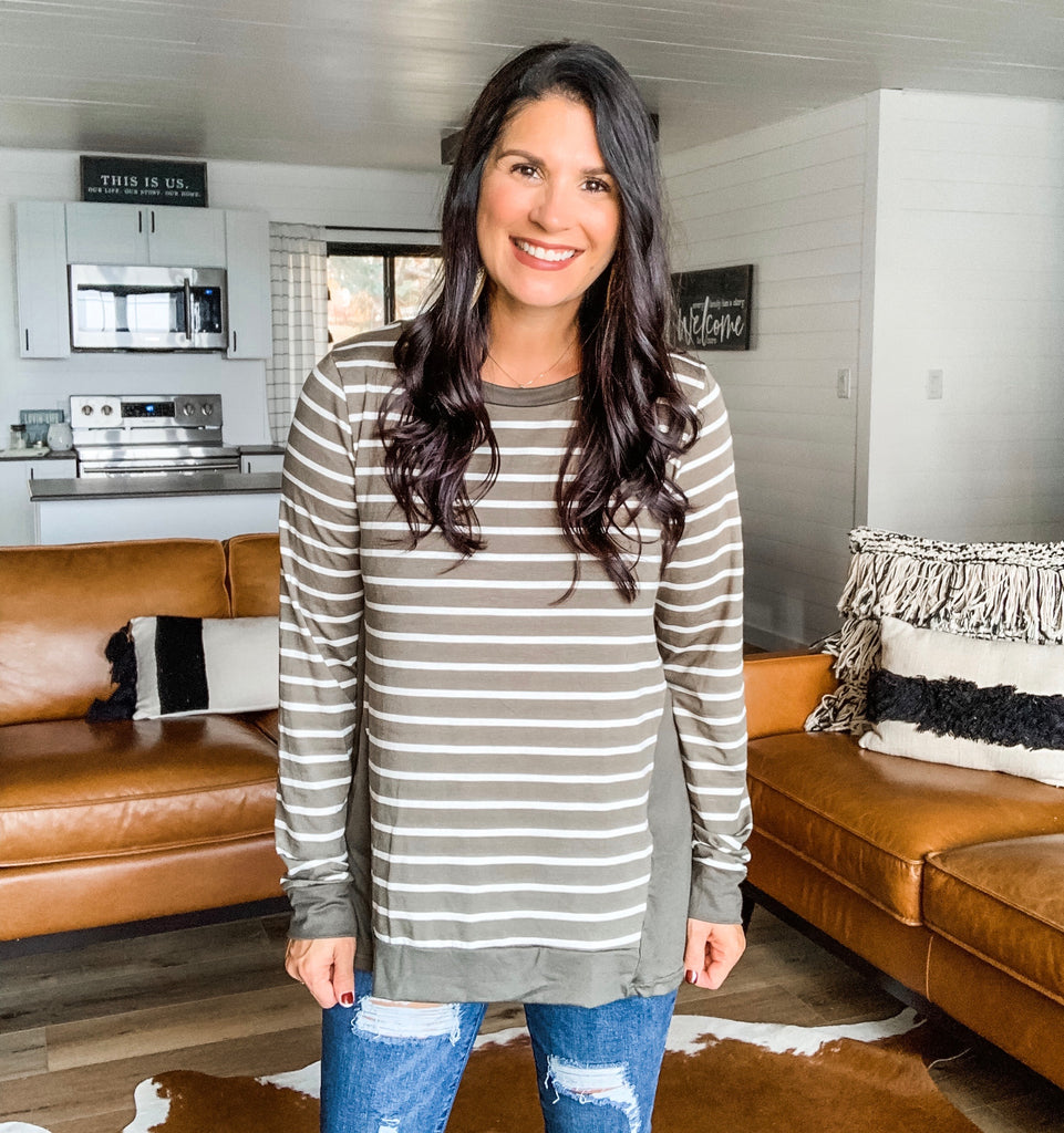 Stripes and Solid Jersey Top - Dark Olive