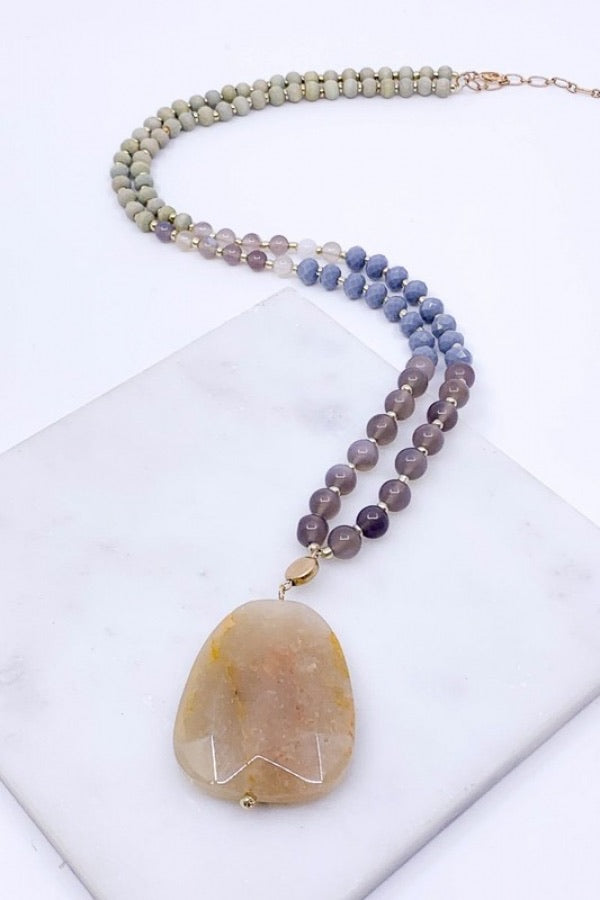Wood,Glass, Semi Precious Stone Strand with a Faceted Semi Precious Stone - Natural