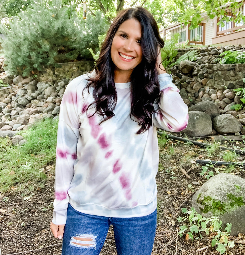 Gray Grape Tie Dye Sweatshirt