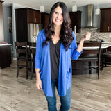 3/4 Sleeve Draped Pocket Cardi - Royal