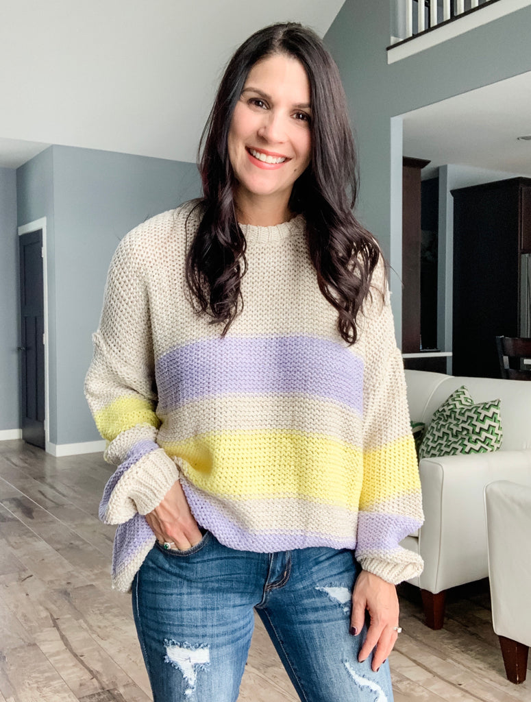 Lilac & Yellow Rugby Stripe Sweater