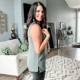 Ribbed Henley Sleeveless Top