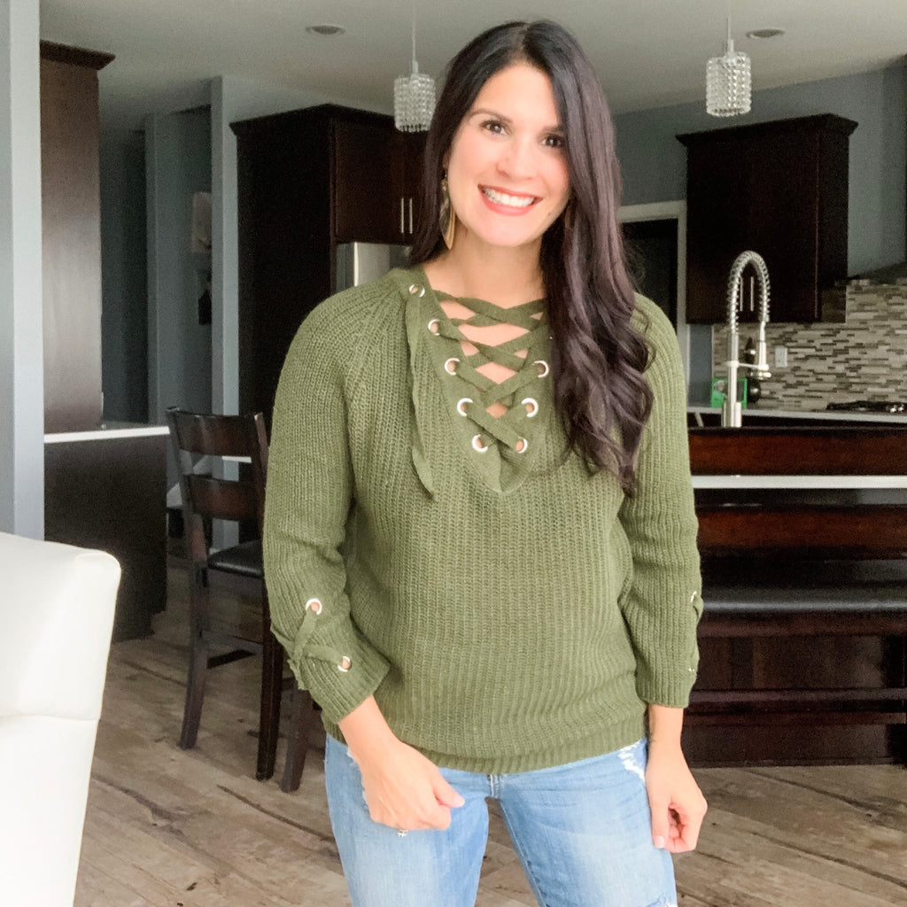 Lace It Up Sweater - Olive