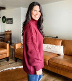 Cable Turtle Neck Sweater - Dark Burgundy